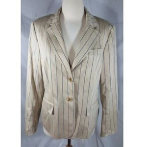 Talbots Beige Stripe Jacket Stretch Cotton 12